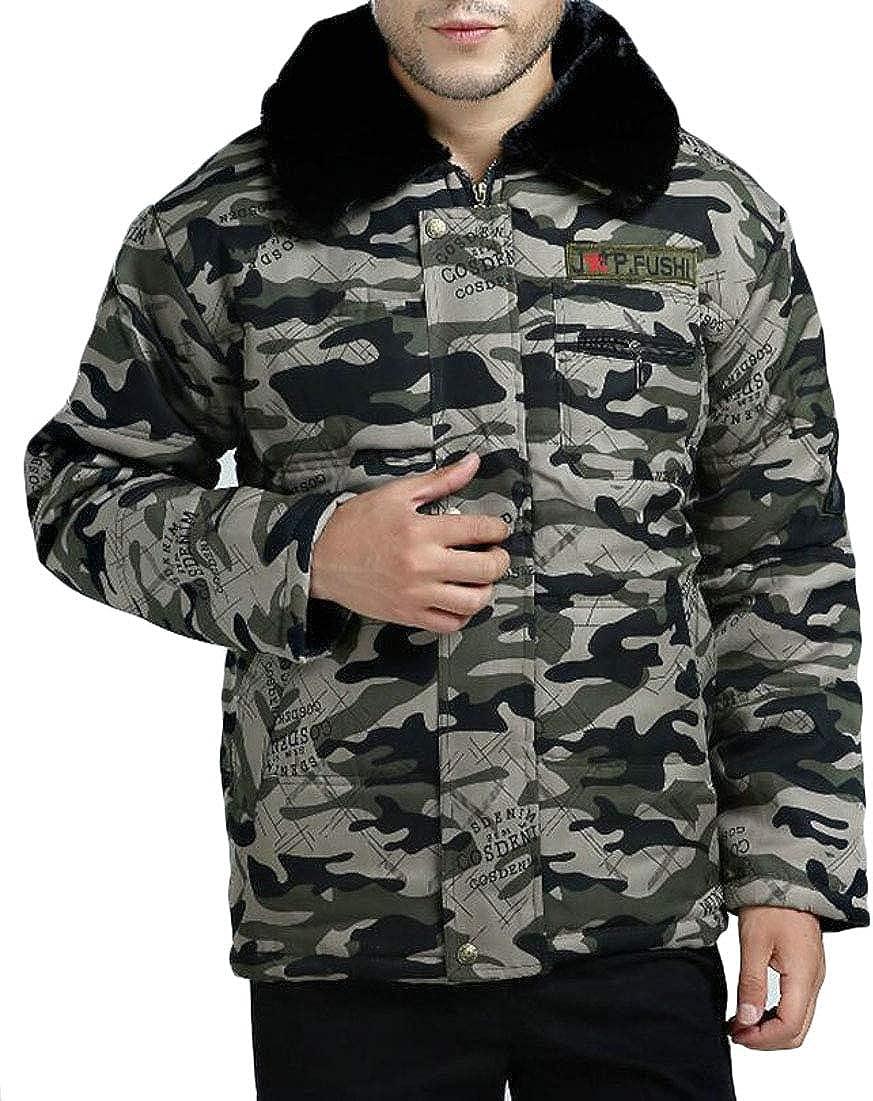 XQS Mens Windproof Down Jacket Faux Fur Lined Coat Outwear