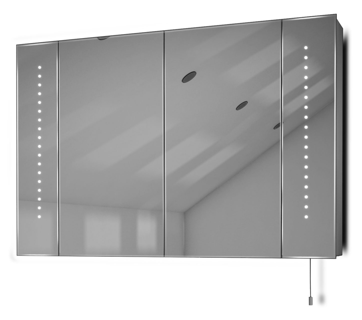 Diamond X Collection Hatha LED Illuminated Battery Bathroom Mirror Cabinet With Pull Cord k143