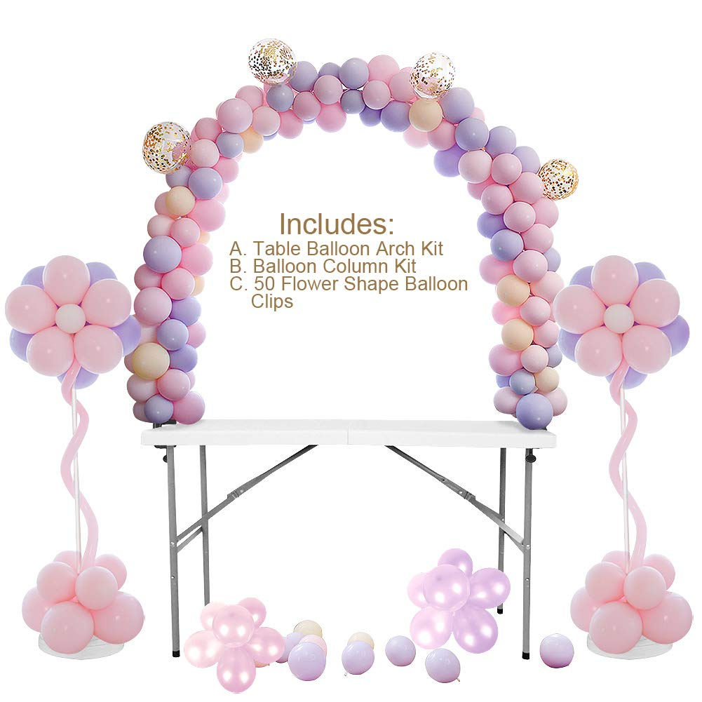 Table Balloon Arch Kit, Balloon Column Stand Kit Bundle, Best for Birthday, Wedding, Graduation and Christmas. Balloons Not Included.