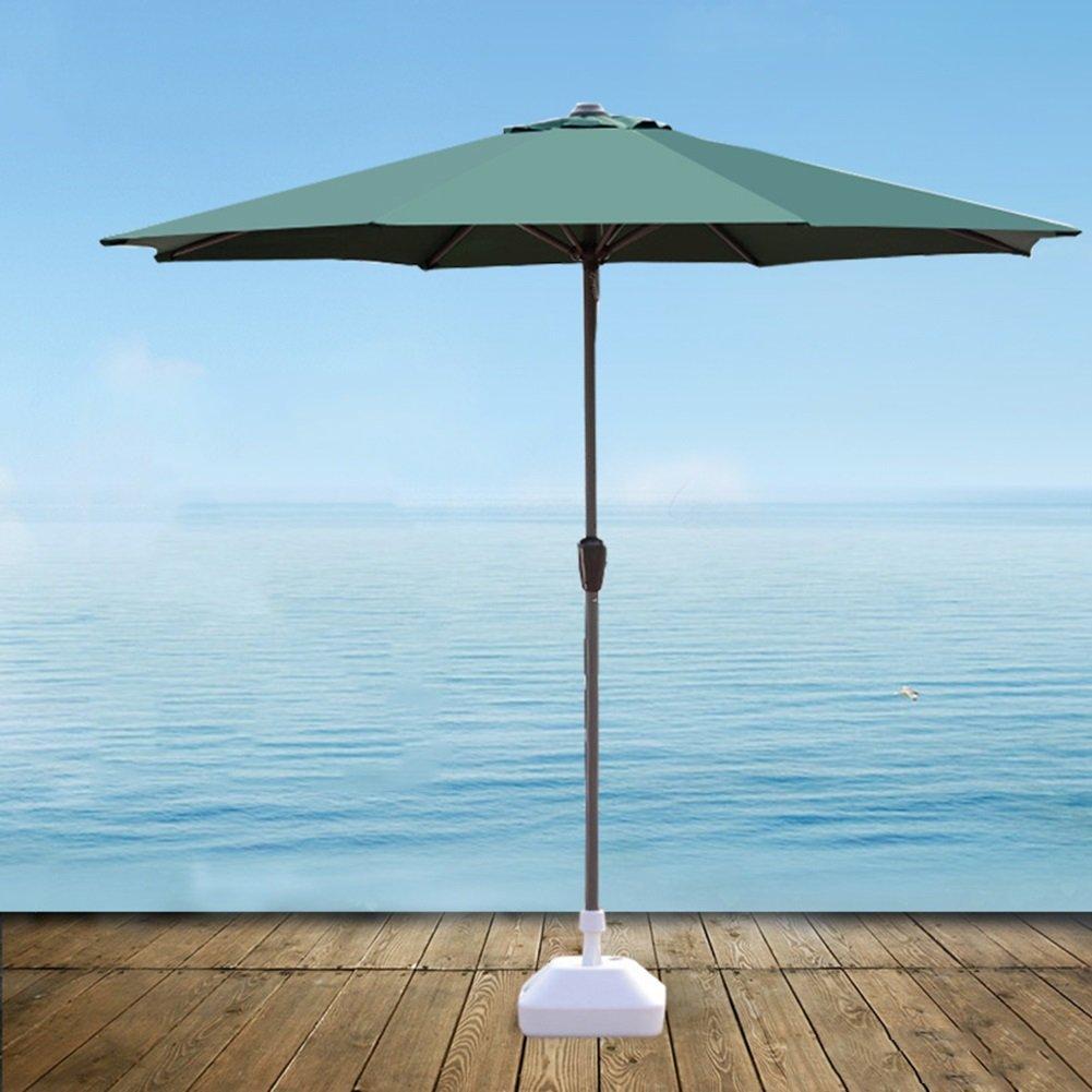 屋外パラソル傘市場パティオガーデン芝テーブルサンキャノピー鉄柱傘UV保護 (色 : 濃い緑色) B07D37H3R8 濃い緑色