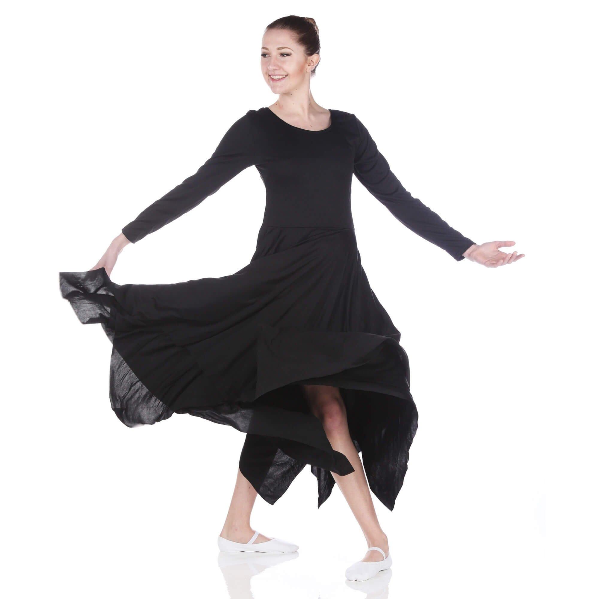 Danzcue Womens Celebration of Spirit Long Sleeve Dance Dress (L-XL, Black) by Danzcue