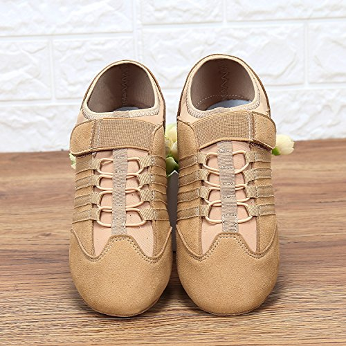 Suede Flexible On Ballet Hook Shoes Loop Women Split Jazz Sole for and Girls Shoe Slip Dance wHxBYnRpXq