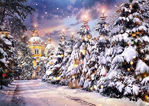 New Cupola Vinyl - Leowefowa 7X5FT Vinyl Photography Backdrop Christmas Castle Forest Pine Tree Heavy Snow Bokeh Halos Glitter Sequins Winter Night View Background Baby Kids Adults Photo Studio Props