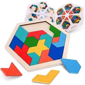 Coogam Rompecabezas de Madera para niños - Patrón de Forma Hexagonal Tetris Bloque Tangram Lógica IQ Juego Stem Montessori Regalo de Juguete de desafío para la Mente para Adolescentes: Amazon.es: Juguetes y