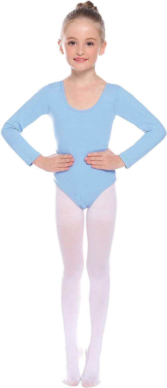 Hawiton M/ädchen Ballettkleidung Ballettkleid Kinder Langarm Ballettanzug Rundem Ausschnitt Gymnastik Tanz-Body Tanzbody mit Rock T/üt/ü