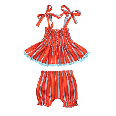 0346db490b59 Amazon.com  Baby Girl Clothes 2PCS Sling Outfits