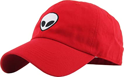 52be9545 Amazon.com: KBSV-028 RED Alien Dad Hat Baseball Cap Polo Style ...