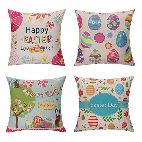 Easter Decorative Throw Pillow Covers - Set of 4 , 18 x 18 inch - Cute Easter Bunny & Eggs Pillowcase Holiday Home Decoration