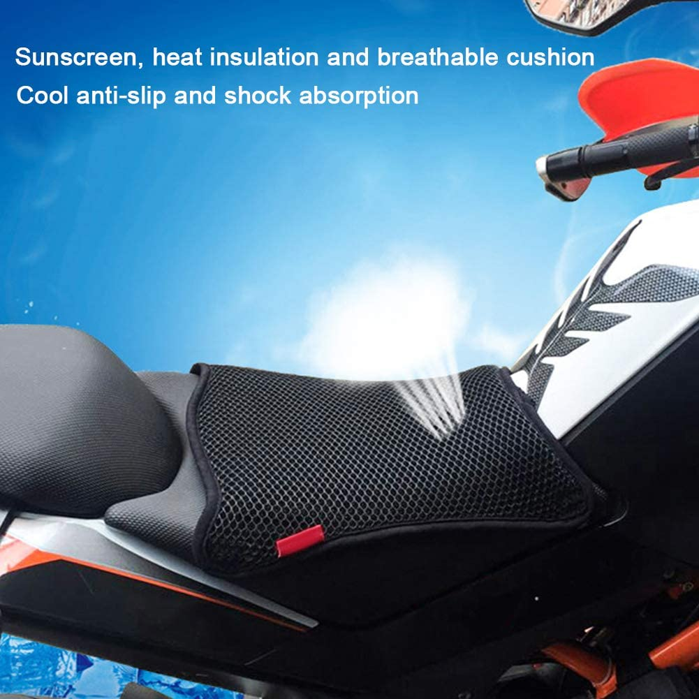 Leezo Motorcycle Sunscreen Seat Cover Prevent Bask In Seat Scooter Sun Pad Insulation Cushion 3D Mesh Seat Cover Motorcycle Accessories