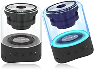 Rimposky Magnetic Bluetooth Speakers,Mini Portable Wireless Speaker with 3D Stereo,Shower Radio Speaker with 4 Colors Led,Standard,Extra Bass,6 Hours Playtime,TWS for Car Outdoor Party (2 Pack)