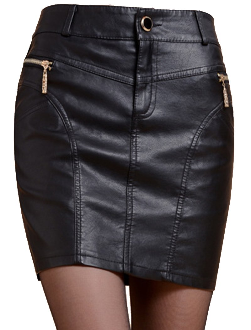 Helan Women's PU Leather Skirt With Buttons and Zipper XX-Large Black