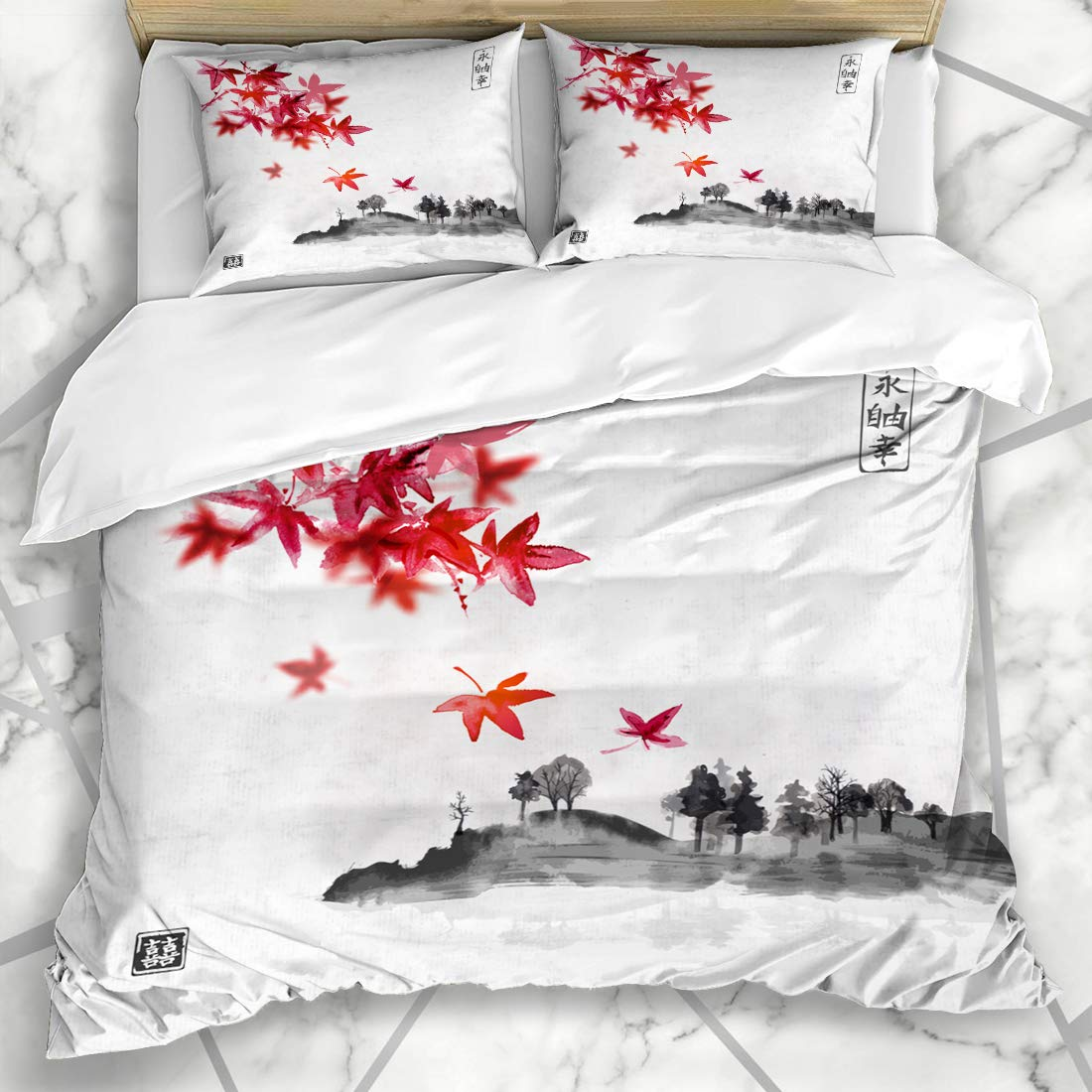 Ahawoso Duvet Cover Sets King 90x104 Red Retro Japanese Maple Japan Leaves Mountain Island Trees Tree Big Full Nature Eternity Textures Soft Microfiber Decorative Bedroom with 2 Pillow Shams