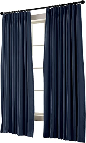 TWOPAGES Pinch Pleated Curtain Navy Solid Thermal Insulated Blackout Drape, 120 W x 96 L for Traverse Rod and Track 1 Panel