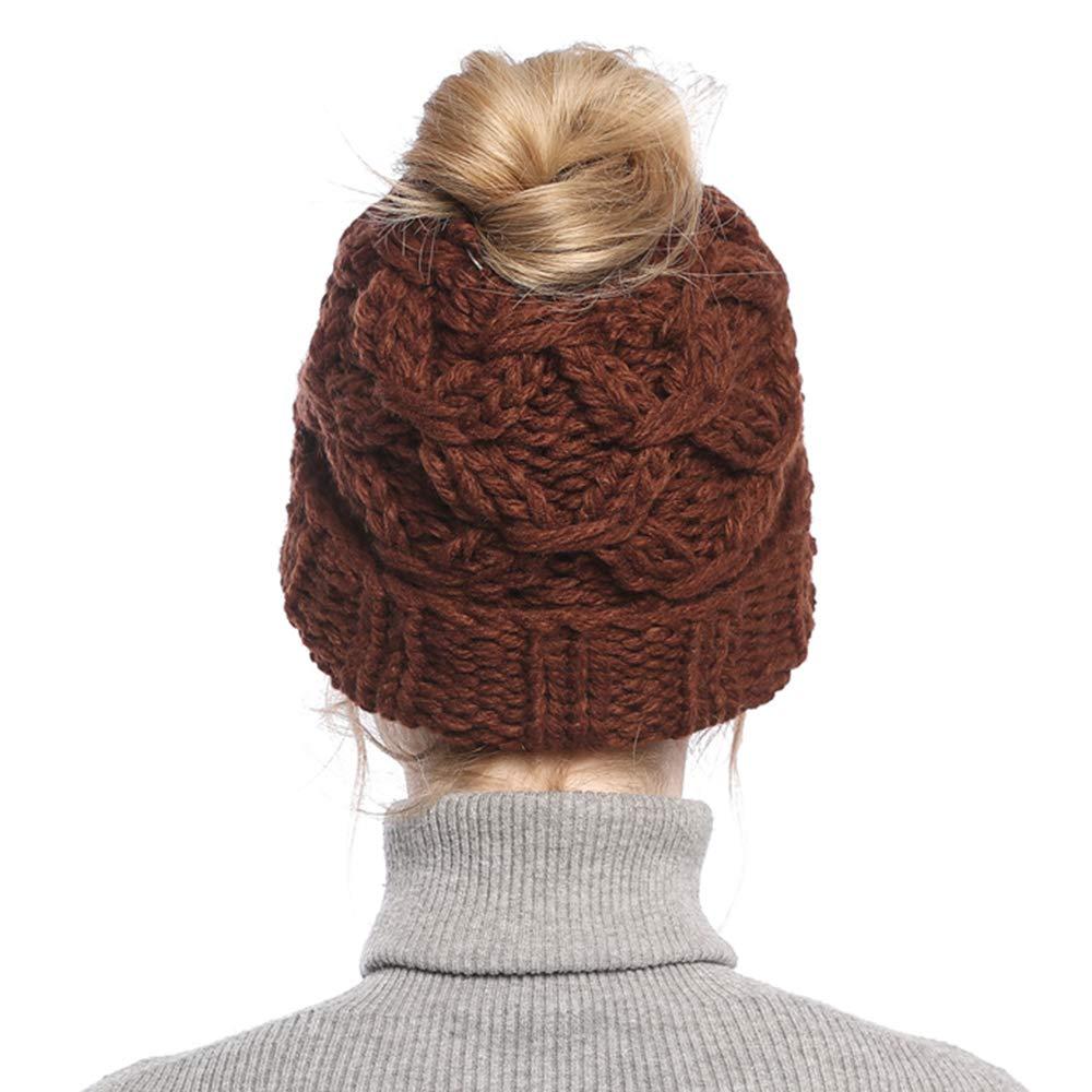Tacobear Cappello Invernale Donna Berretti in Maglia Inverno Caldo Termico Cappello con Buco Berretto Beanie per Coda di Cavallo