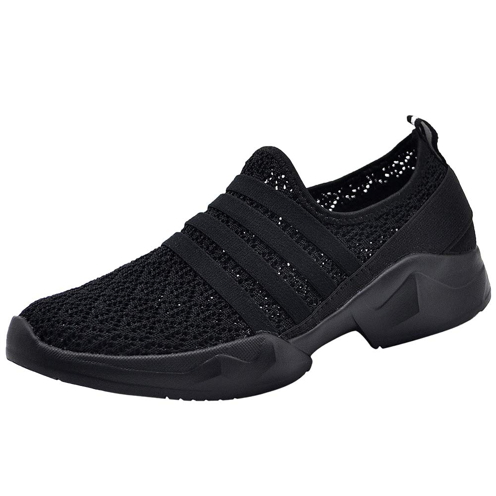 7718 All Black HKR Womens Walking shoes Slip On Casual Lightweight Knit Mesh Athletic Tennis Sneakers