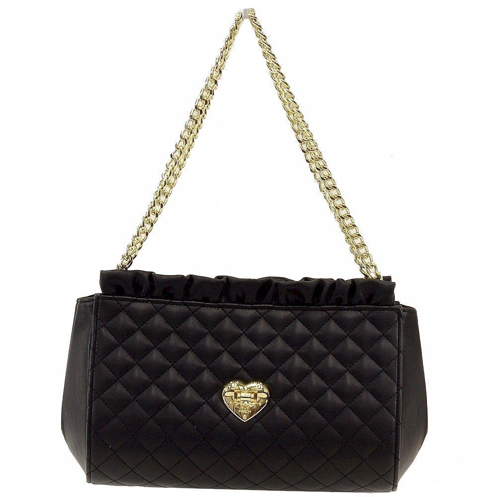 Love Moschino Women's Quilted Double Handle Black Shoulder Small Satchel Handbag by Love Moschino (Image #1)