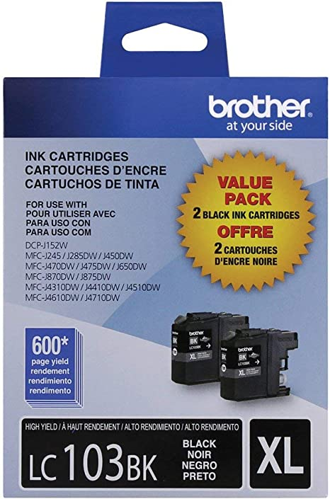 Amazon.com: Brother LC103 – 2pks Black Ink Cartridge Dual ...