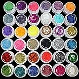 36pcs Glitter Random Gel Acrylic Set Mix Color UV Builder for Nail Art Tips