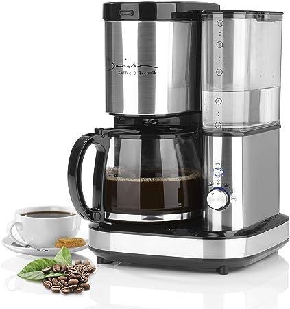 BARISTA - Cafetera de filtro de acero inoxidable con mecanismo de molienda, incluye jarra de cristal para hasta 10 tazas de café crema [recipiente de agua de 1,2 l/800 W): Amazon.es: Hogar