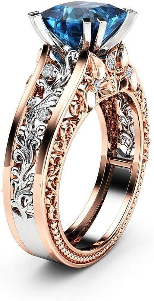 guirlande de fian/çailles pour mariage en or rose Bague en or rose avec bijoux en topaze bijoux de mode