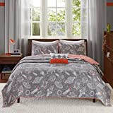 4 Piece Kids Grey Orange White Full Queen Coverlet Set, Space Themed Reversible Bedding Planets Shooting Star Alien Rocket Ship Space Ship Triangle Cartoon Cute Adorable Fun Gray, Cotton