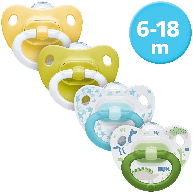 Neutrale Farben Silikon 6-18 Monate kiefergerechte Form 2x Happy Days Schnuller /& 2x Fashion Schnuller NUK 4er Schnuller-Set