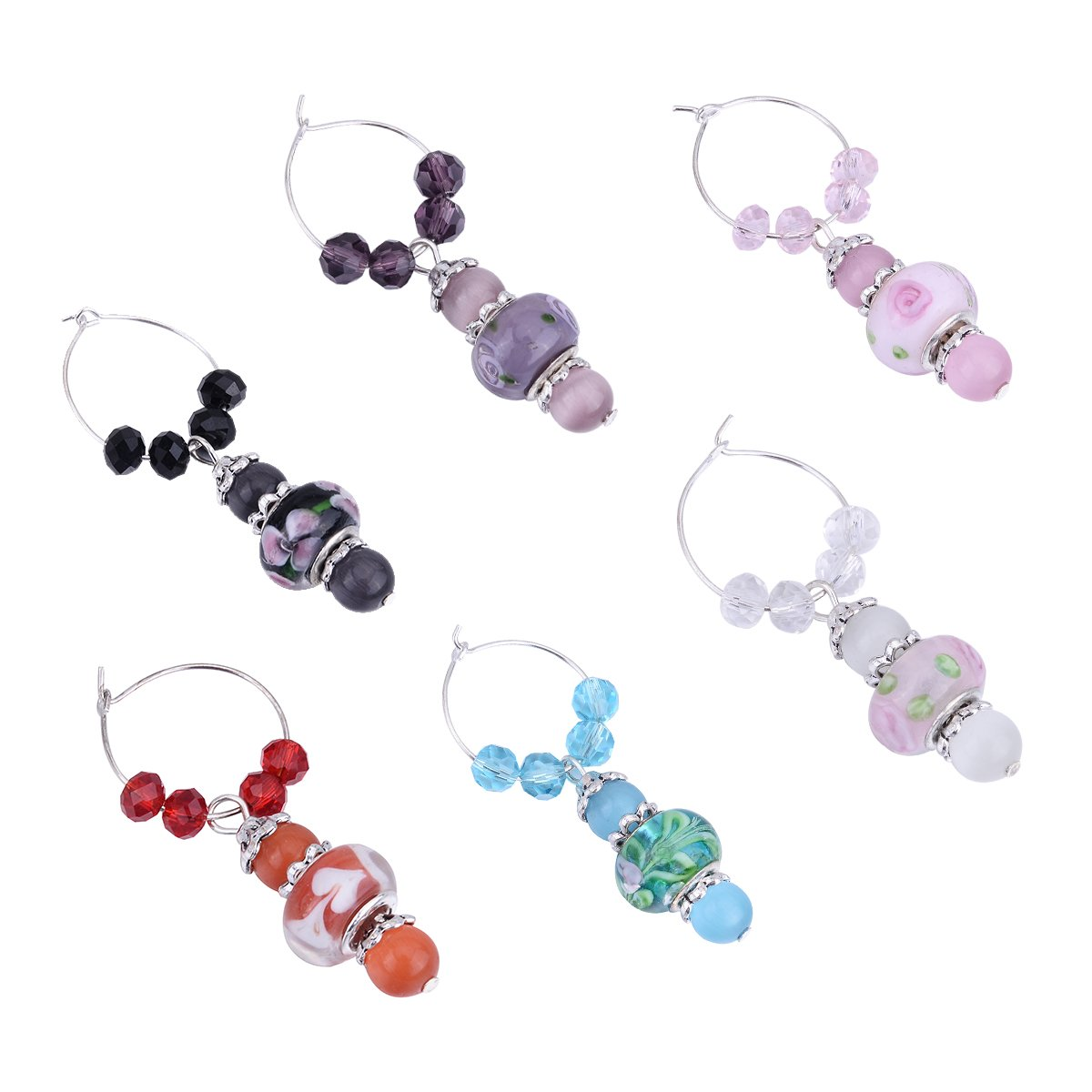 HooAMI Mixed Murano Lampwork Glass Beads Crystal European Wine Glass Charms Markers Tag Pendant Pack of 6pcs