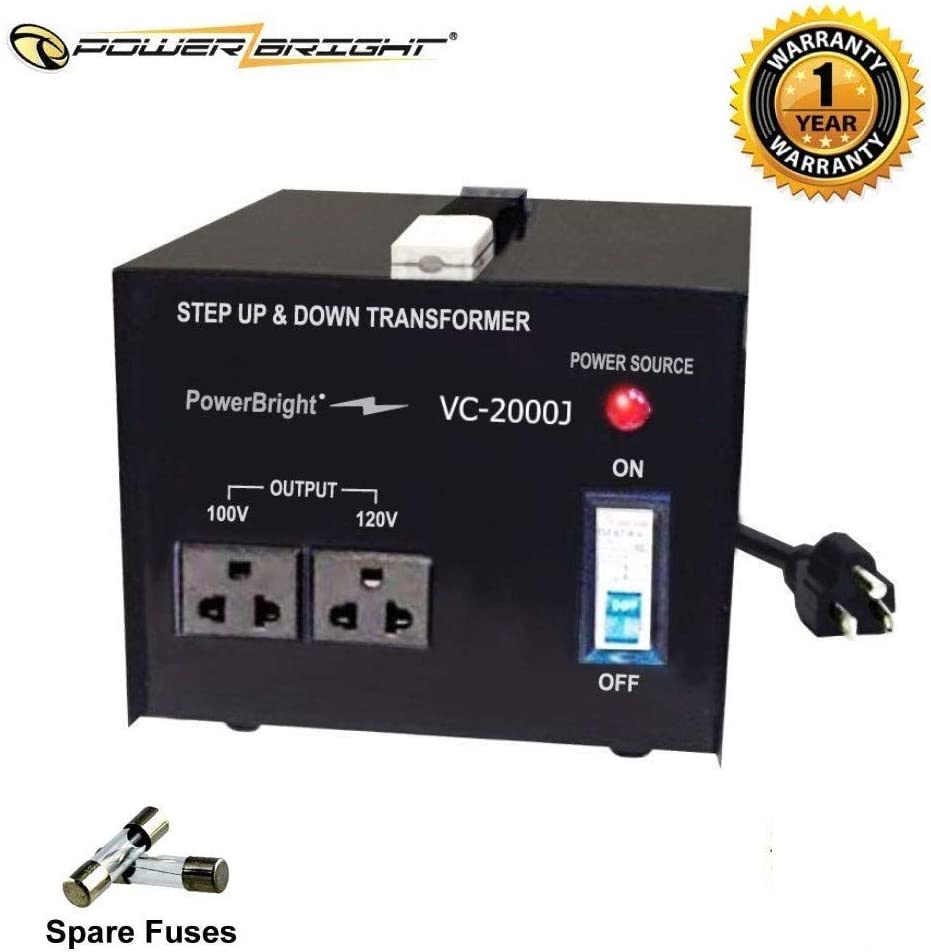 PowerBright 2000 Watts Japanese Voltage Transformers, Step Up and Down Japan Converter, Can be Used in 120 Volt and 100V Countries, Convert from 120V to 100V and 100V to 120V, Universal Outlet Socket