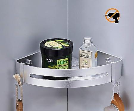 Shelf-rectangle Bad Duschwanne mit 2 Haken Kazeila Duschregal Eckregal