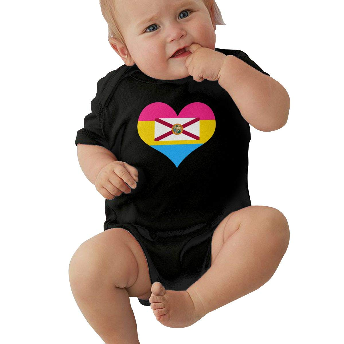 TAOHJS97 Toddler Pansexual Heart Florida Flag Short Sleeve Climbing Clothes Bodysuits Suit 6-24 Months