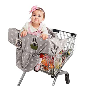 Lekebaby 2-in-1 Shopping Cart Seat Cover, High Chair Cover for Infants Toddler and Baby, Machine Washable, Upgraded (Arrow Print)