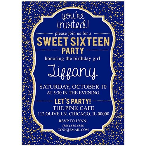Amazon Com Sweet Sixteen 16 Navy Blue And Gold Birthday Party