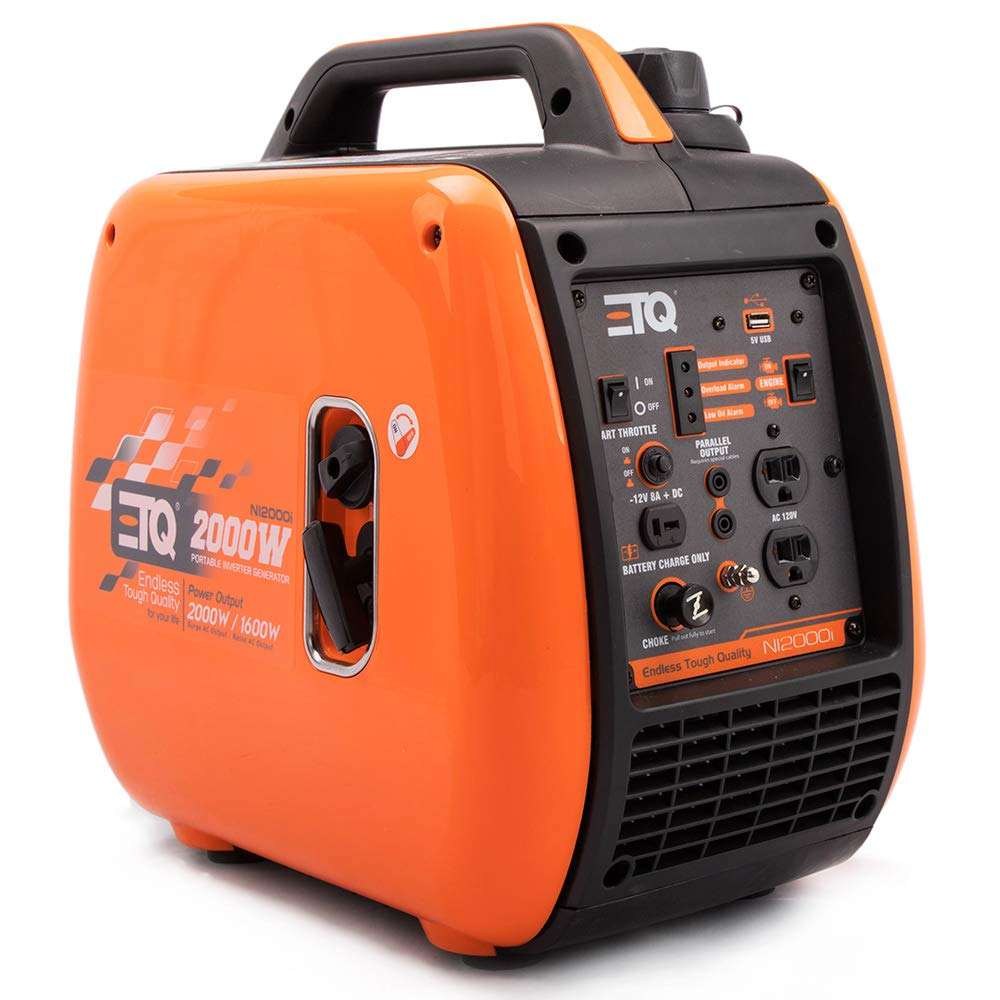 ETQ NI2000i Tough Quality 2000-Watt Portable Inverter Generator – Extremely Quiet – CARB Compliant