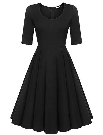 12aa798f9 ELESOL Women's A-Line 3/4 Sleeve Pleated Cocktail Party Swing Dress,Black