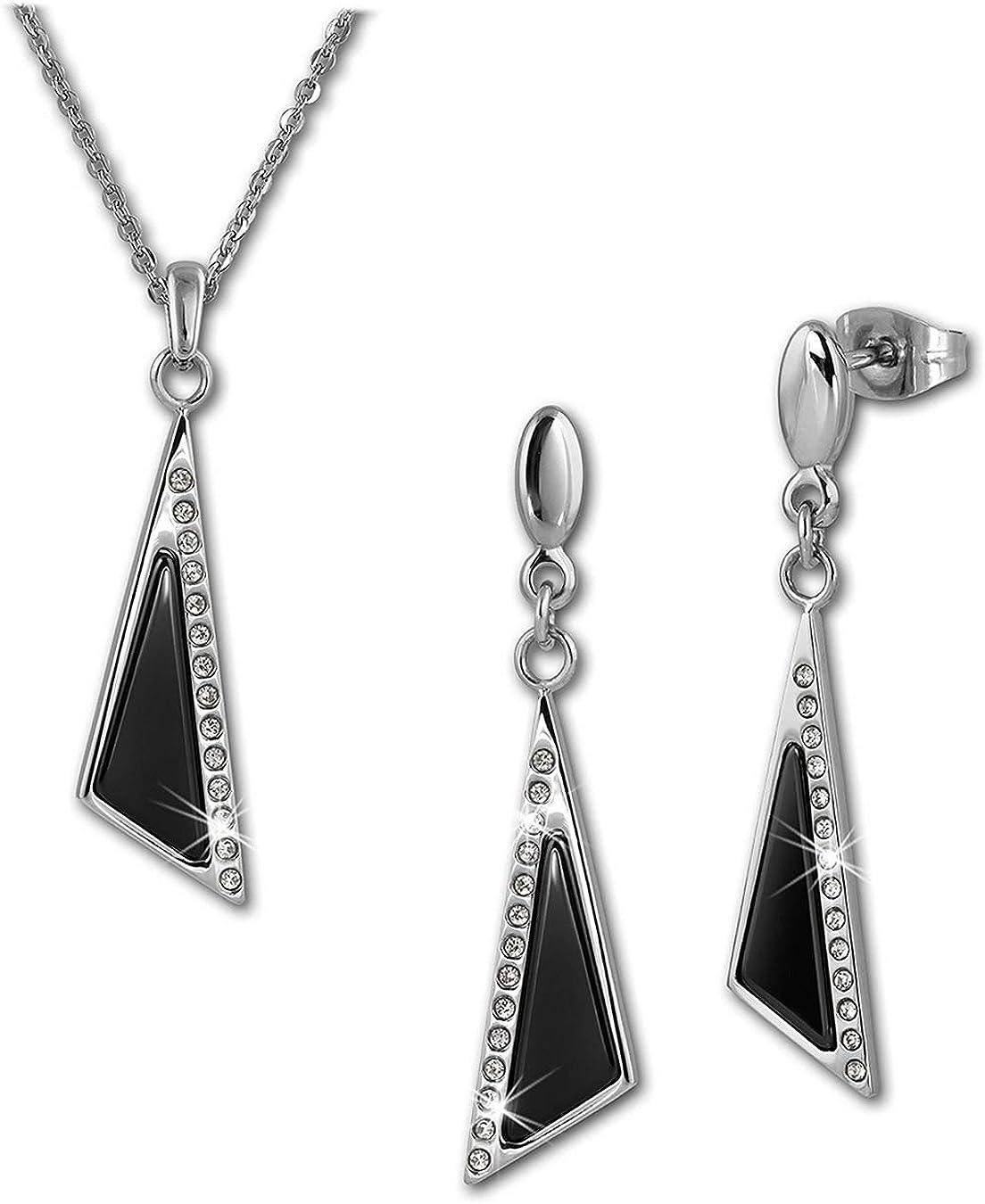 Amello Halskette Keramik Dreieck Zirkonia schwarz Damen Edelstahlschmuck ESKX43S