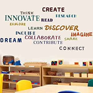 TOARTi Classroom Wall Decal,Colorful Words Wall Stickers, Creative Wall Art Share Discover Dream Imagine Vinyl Sticker for Kids Classroom Playroom Decor
