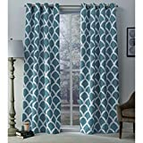 Exclusive Home Durango Geometric Printed Woven Sateen Grommet Top Curtain Panel Pair, Teal, 52×108, 2 Piece