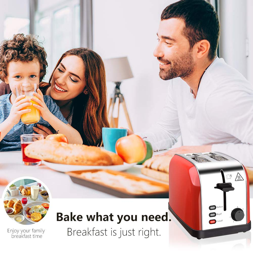 Toaster 2 Slice Toasters Best Rated Prime Extra Wide Slots Compact Stainless Steel with Defrost Reheat Cancel Button High Lift Lever Toaster's Removable Crumb Tray Quickly Toast for Bread&Bagel by Evening (Image #6)