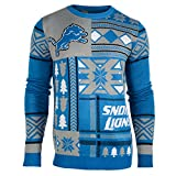 FOCO Detroit Lions Patches Ugly Crew Neck Sweater Large