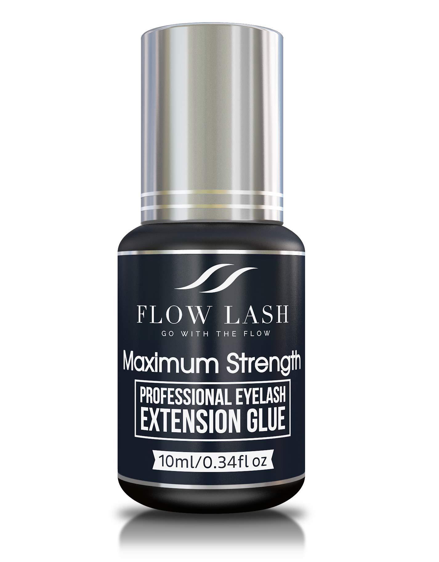 Strongest Eyelash Extension Glue - Maximum Strength, Professional Grade Eyelashes Black Adhesive, Formaldehyde & Latex Free Lashes Supplies, Semi - Permanent Eyelash Glue by Flow Lash, 10mL
