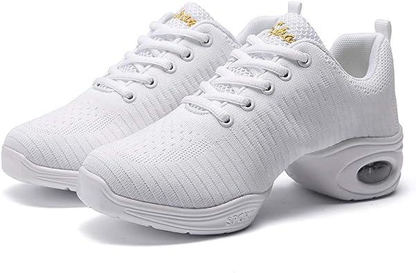 Zapatillas De Baile Moderno Mujer Running Casual Gimnasio Transpirables Antideslizante Al Aire Libre Zapatos Suaves Sneakers Negro Blanco 35-41: Amazon.es: Zapatos y complementos
