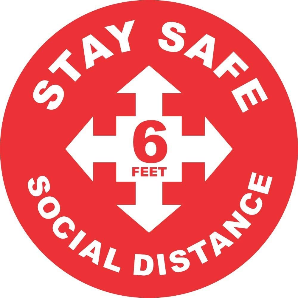 12 Inch Floor Graphic Non Slip Social Distancing Signs Be Confident Your Store is Safe for COVID-19