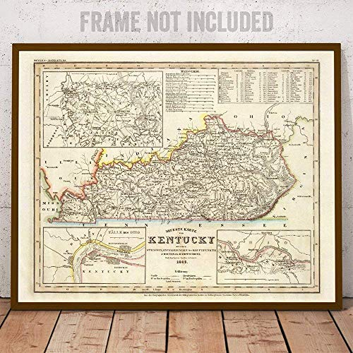 Antique Reproduction Wall Decor - 1845 Kentucky Antique Vintage Style Map Art - The Perfect Wall Decor in This Highly Detailed Restored Reproduction
