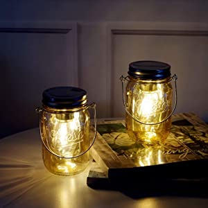 MJ PREMIER Mason Jar Lights Hanging Lights Outdoor Tabletop Laterns Hanging Lanterns Battery Operated Mason Jar Decor Table Light for Indoor Outdoor Decoration, Set of 2