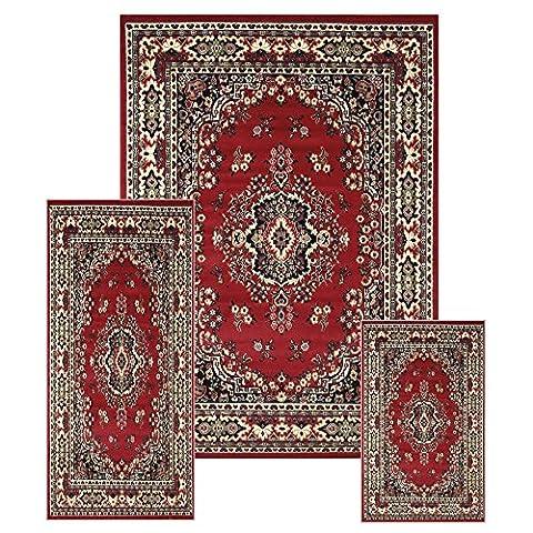 Traditional Medallion Persian 3 Pcs Area Rug Oriental Bordered Runner Mat Set (Octagon Shape Rugs)