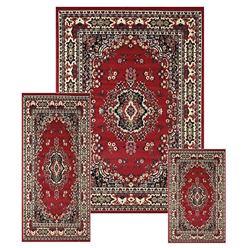 Traditional Medallion Persian 3 Pcs Area Rug Oriental Bordered Runner Mat Set (Taupe Persian Runner)