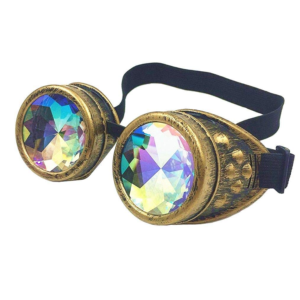 Glasses KING Vintage Steampunk Goggles Glasses With Elastic Band And Colored Diamond Lens - Retro Victorian Cosplay(Bronze Frame) by Glasses KING