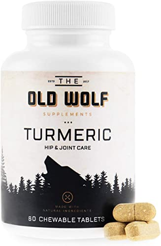 Turmeric Curcumin Joint Supplement for Dogs Pain Relief Anti Inflammatory Support with Glucosamine, Chondroitin Porcine, MSM, Hyaluronic Acid, Piperine Turmeric Root Blend – 60 Chewable Tablets
