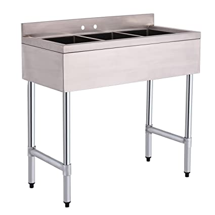 Giantex 3 Compartment Sink Stainless Steel Kitchen Commercial Heavy Duty