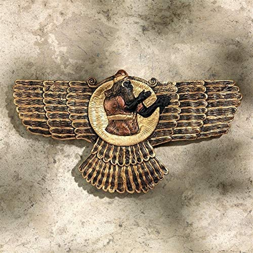 Design Toscano Ashur The Assyrian God of Earth, Air and Sun Wall Sculpture, 12 Inch, Black and Gold